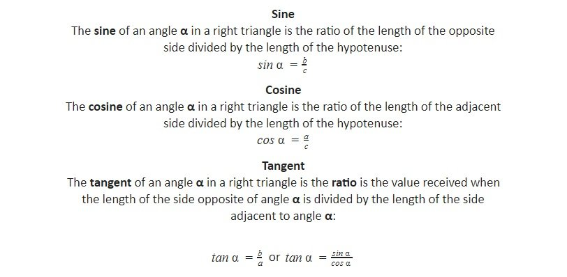 sine, cosine and tangent ratios right triangle