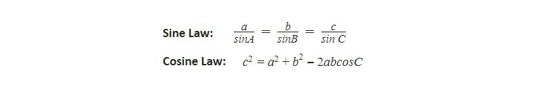 sine law and cosine law formulas