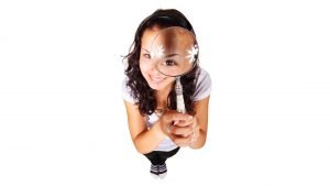 a curious girl with a magnifying glass