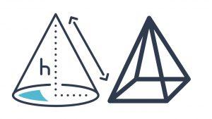 pyramid and cone sa and v